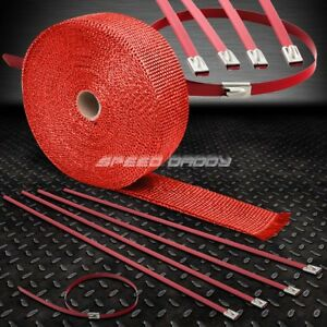 2 50ft 15m Fiberglass Exhaust Header Down Pipe Manifold Red Heat Wrap Zip Tie