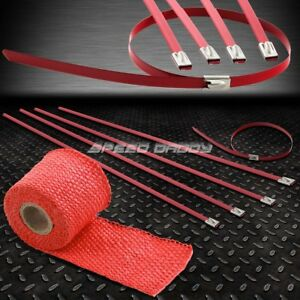5ft 60 L 2 W Car Bike Exhaust Pipe Red Heat Wrap Stainless Zip Tie Cable