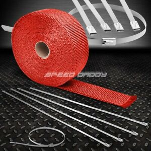 25 7 5m 2 W Turbo Manifold Header Red Heat Wrap Stainless Silver Zip Tie