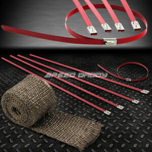 5ft 60 L 2 W Exhaust Intake Header Titanium Heat Wrap Stainless Red Zip Tie