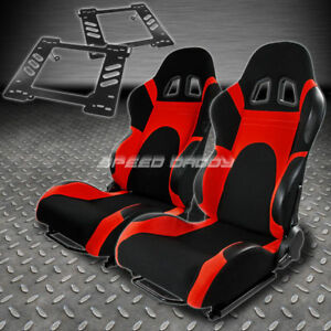 Pair Type 6 Reclining Black Red Woven Racing Seat Bracket For 97 06 Wrangler Tj