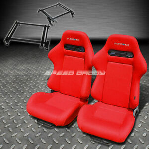 Pair Nrg Type R Style Red Cloth Racing Seat Bracket For 90 93 Acura Integra Da