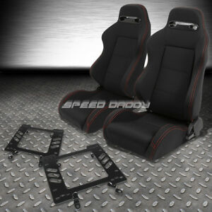 2x Type r Black Canvas Bucket Racing Seat slider bracket For 79 98 Ford Mustang