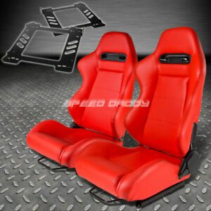 Pair Type R Red Pvc Reclining Racing Seat Bracket For 92 99 Bmw E36 2 Door