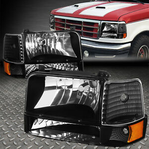 For 92 96 Ford F150 F250 F350 Black Housing Amber Corner Headlight Bumper Lamps