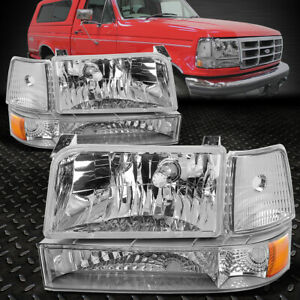For 1992 1996 Ford F150 F250 F350 Chrome Bumper Headlights Amber Corner Lamp