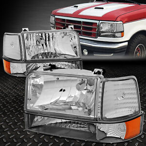 For 92 96 Ford F150 F250 F350 Chrome Housing Amber Corner Headlight Bumper Lamps