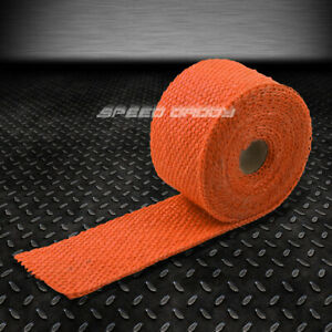 15ft 180 L 2 W Header Manifold Turbo Exhaust Pipe Insulating Orange Heat Wrap