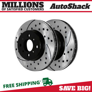 Front Drilled Slotted Disc Brake Rotors Pair 2 For Honda Civic Fit Insight 2 0l