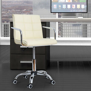 Office Chair Executive Pu Leather Mid back Ergonomic Computer Desk Seat Swivel