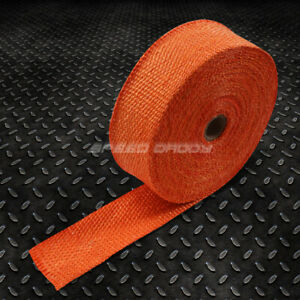 10m 393 Long 2 Width Exhaust Manifold Header Down Pipe Piping Orange Heat Wrap