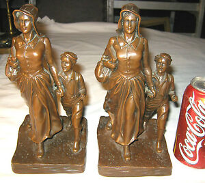 Antique J B Jennings Brothers Pioneer Lady Bible Boy Western Statue Bookends