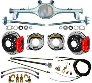 Currie 78 87 Gm G body Rear End Wilwood Drilled Disc Brakes red Calipers lines