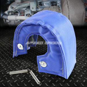 T3 T25 T28 Gt35 Turbo Turbocharger Exhaust Blue Heat Shield Blanket Cover Wrap