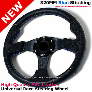 For Honda Civic Accord 320mm Blue Stitches Race Steering Wheel With Horn B