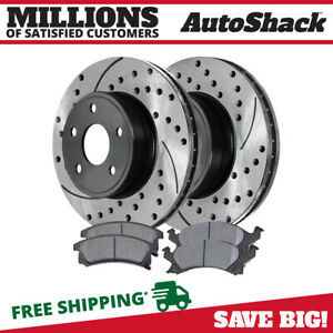 Front Drilled Slotted Rotors And Ceramic Pads For 1992 2005 Chevrolet Cavalier