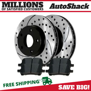 Front Drilled And Slotted Brake Rotors Ceramic Pads For 2009 2012 Chevy Malibu