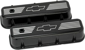 Billet Specialties Chevy Bowtie Black Aluminum Bbc Tall Valve Covers bow Tie