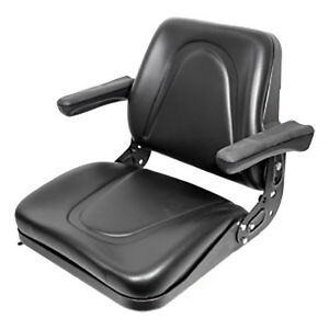 Universal Tractor Seat With Flip Up Arms And Slide Track Black Fits Kubota