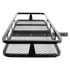Hitch Mounted Cargo Carrier Luggage Basket Trailer Receiver Rack Truck Suv Car