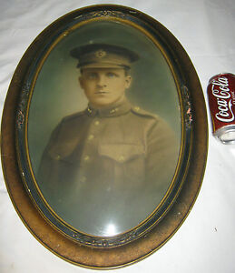 Antique Convex Glass Wood Picture Photo Art Frame Army Marines Soldier War Man