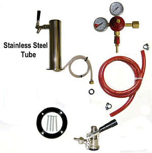 1 Tap Polished Stainless Steel Beer Tower Tap Kegerator Home Beer Bar Kit Htk3