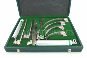 Fiber Optic Macintosh Miller Combo Laryngoscope Set 9 Blades 2 Handles