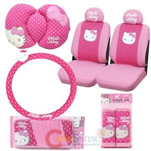 Hello Kitty Car Seat Cover Accessories Set 8pc Collage Mats Key Chain Pink Black