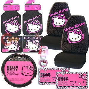Hello Kitty Car Seat Cover Accessories Set 10pc Collage W License Plate Frames