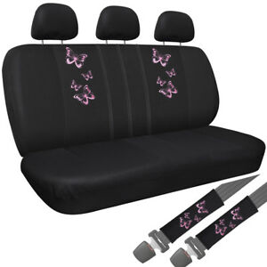 Car Seat Covers Pink Butterfly 8pc Bench For Auto W Belt Pads Head Rest Mesh