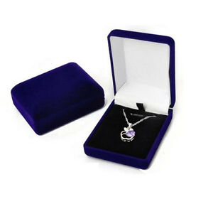 2 Pcs Deluxe Blue Velvet Pendant Necklace Earring Presentation Jewelry Gift Box