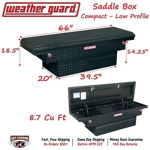 131 5 01 Weather Guard Black Aluminum Saddle Box 66 Low Profile Truck Toolbox