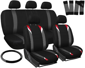 Truck Seat Cover For Toyota Tacoma Red Gray Black Steering Wheel Belt Head Rests