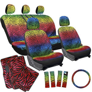 17pc Set Truck Bucket Seat Cover Rainbow Color Zebra Animal Red Floor Mats 2e