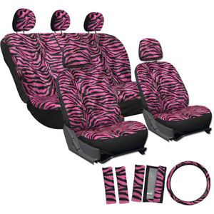 Car Seat Covers For Dodge Charger Hot Pink Zebra Tiger Animal Print Belt Pads