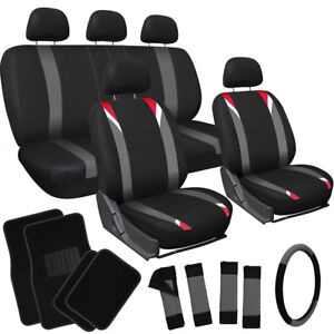 20pc Set Red Gray Black Auto Suv Seat Cover Wheel Belt Pad Head Rest Floor Mats
