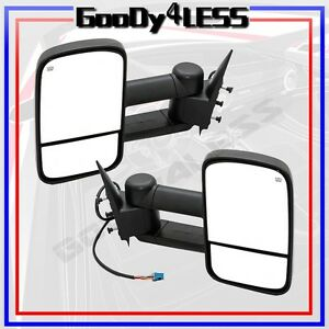 For 03 06 Silverado Sierra Pickup Towing Power Heated Telescoping Mirrors Tow