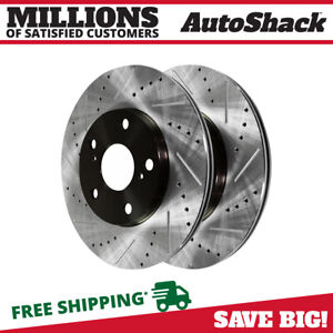 Front Drilled Slotted Brake Rotors Pair 2 Fits 04 09 2010 Toyota Sienna 980077