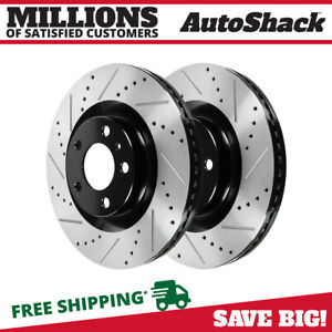 Front Drilled Slotted Disc Brake Rotors Pair 2 For Ford Flex Taurus Explorer V6