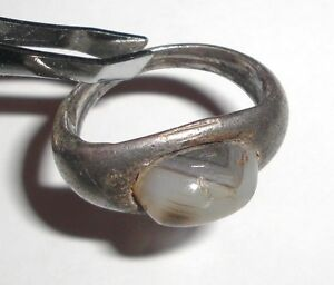 Ancient Roman Empire 1st 3rd C Ad Silver Ring With White Stone