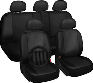 Faux Leather Black Seat Cover For Dodge Ram W Steering Wheel Belt Pads Head Rest