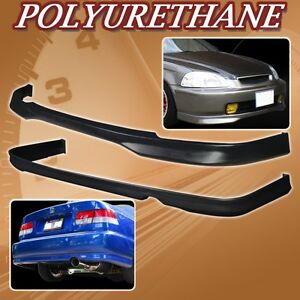 For 96 98 Civic 2dr 4dr T r Urethane Pu Front Rear Bumper Lip Spoiler Body Kit