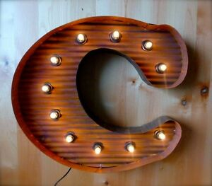 Large Vintage Style Light Up Marquee Letter C 24 Tall Industrial Rustic Sign