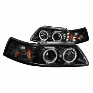 Anzo 121303 Set Of 2 Black Halo Projector Headlights For 99 04 Ford Mustang