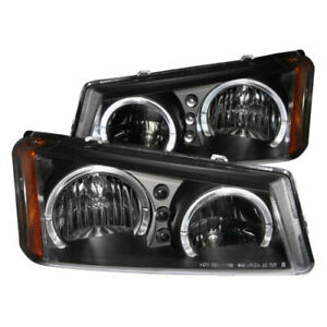 Anzo 111212 Pair Black Dual Halo Projector Headlights For Silverado avalanche