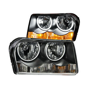 Anzo 121138 Set Of 2 Black Ccfl Halo Projector Headlights For 05 10 Chrysler 300