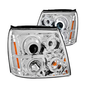 Anzo 111176 Set Of 2 Chrome Ccfl hid Halo Projector Headlights For Escalade