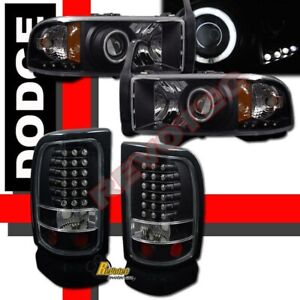 94 01 Dodge Ram 1500 2500 3500 Black Halo Projector Headlights Led Tail Lights