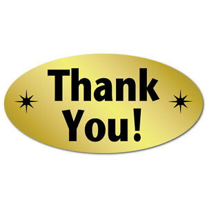 thank You Oval Stickers 2 X 1 Roll Of 500 Stickers