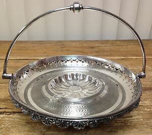 Victorian Silverplate Cake Basket Brides Bon Bon Simpson Hall Miller Connecticut